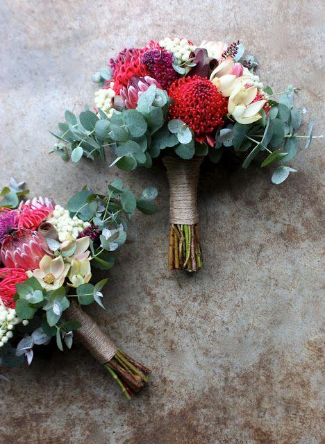 Swallows Nest Farm Waratah, Leucadendron, Protea, Berzelia, Isopogon, Australian Native Wedding Bouquet