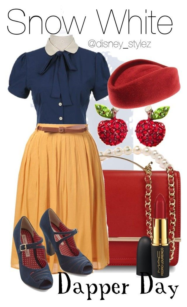 Snow White Dapper Day by disney-stylez ❤ liked on Polyvore featuring Flower Idea, Pearls Before Swine, CHARLES  KEITH, But Another Innocent Tale and MAC Cosmetics