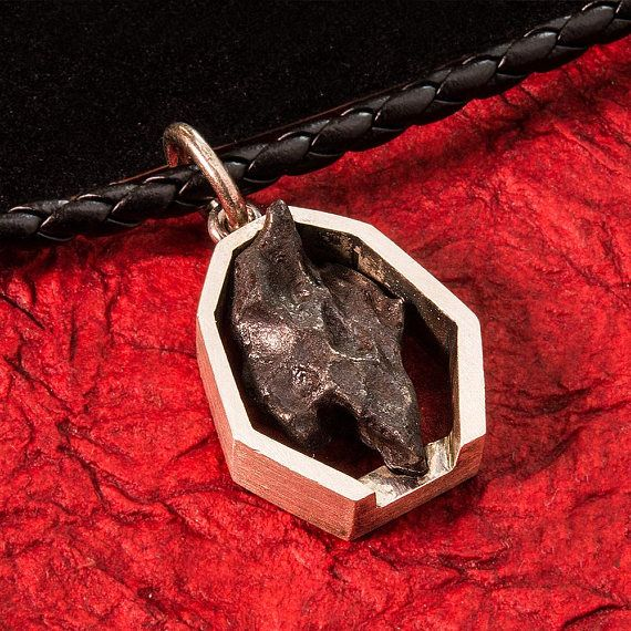 """Sikhote Alin Iron Meteorite Pendant Gift Silver Falling Star Very Unique Space Rocks Genuine Meteorite Pendant Handmade Sci Fi. Every piece is """"One Of A Kind"""" in that every Meteorite is unique and different your item is hand assembled in the USA! The image provided is the stone and mounting that you will receive. The mounting is made from 925 Sterling silver. #Gift Silver Falling #Star #Unique #Space #Rock #Handmade #Meteor #Accessories #men #Perfect #Gift by #ArtDreammaker"""