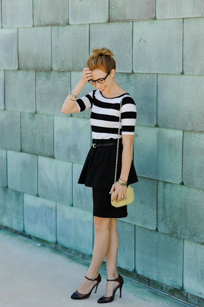 Stripes + peplum: Sidewalks Ready, Full Skirts, Black And White, Peplum Color Pink, Diy Peplum, Pencil Skirts, Stripes, Bananas Republic, Peplum Skirts