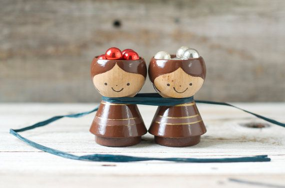 Vintage Danish Wood Egg Cup Holders  Helen and by HouseofSeance, $56.00