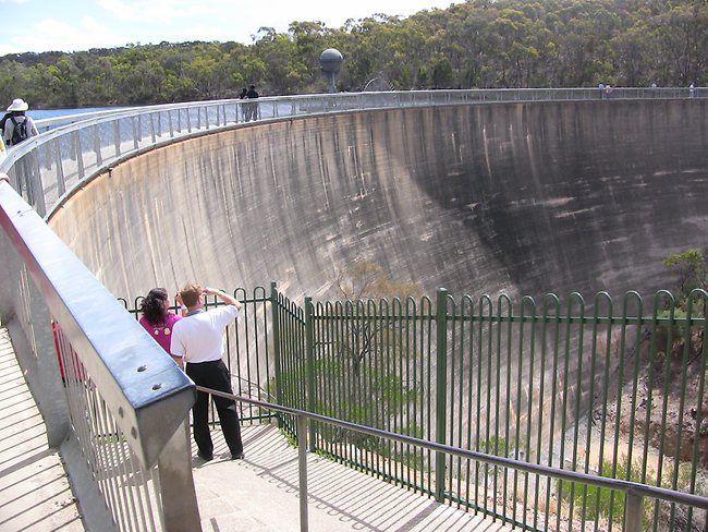 The retaining wall of the Barossa Reservoir in Adelaide (the Whispering Wall) has a unique acoustic effect where words whispered on one side can be clearly heard at the other, more than 100m away. Picture: Jeff Marquis