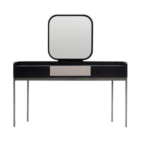 NAME : EMMA  CODE : L88  Clean and stylish design with the characteristics of the rounded back panel from its family, EMMA dressing table has a mirror affixed in the middle. This feminine dressing table can be used in all kinds of spaces and rooms besides the bedroom.