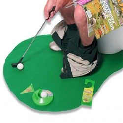 Potty Putter Toilet Mat Golf    Reading the newspaper on the toilet is so last year. Instead of reading the sports news, why not make your own instead with the Potty Putter Toilet Golf Mat?