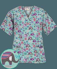 UA Beautiful Day Fresh Mint Print Scrub Top $10.99
