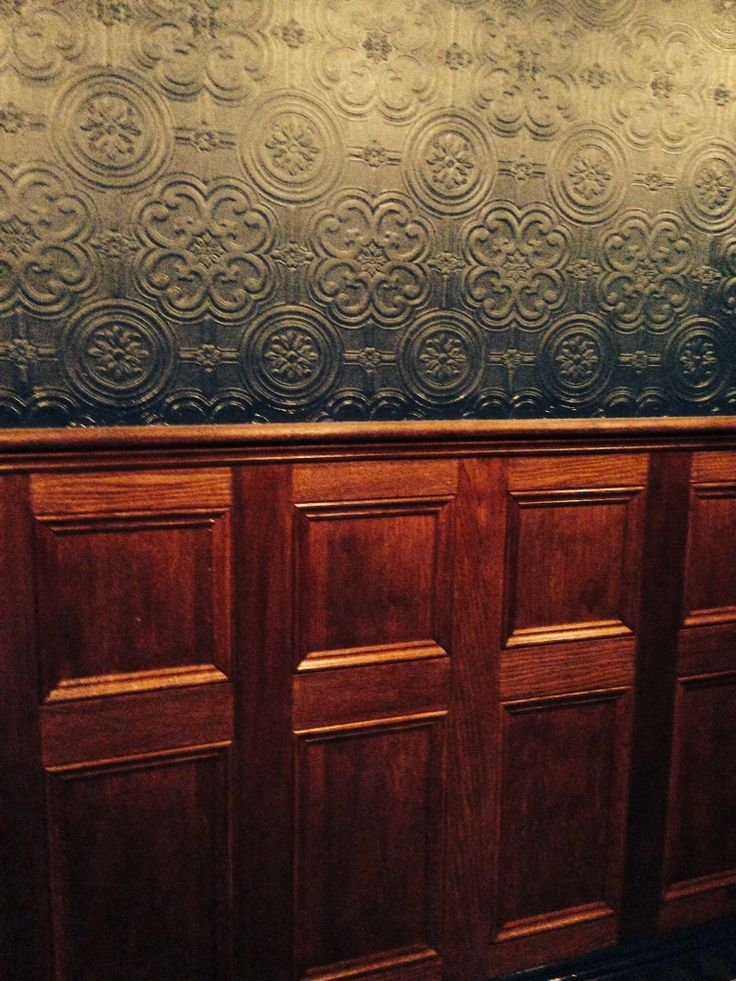 Interior Of Drawing Room: Wood Paneling Anaglypta Wallpaper