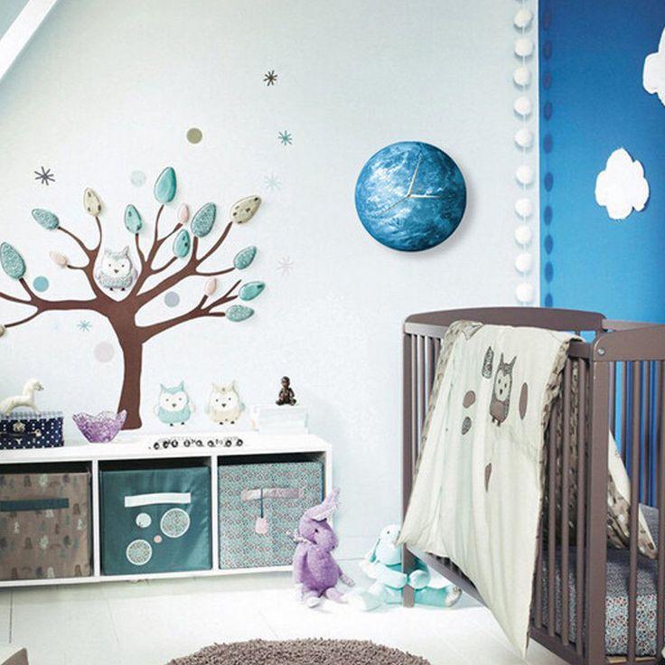 3030 Fashion Luminous Round Earth Wall Clock Living Kids Room Decor 6 Style