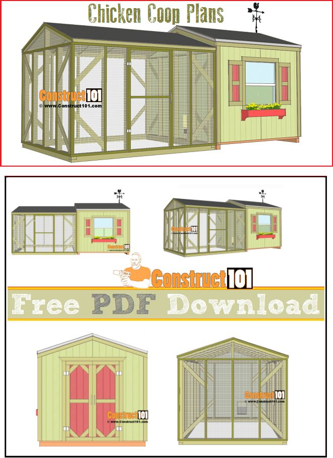 Large chicken coop plans, free PDF download, step-by-step instructions, and material list.