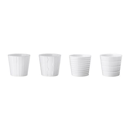 KARDEMUMMA Plant pot IKEA These are sturdy and come in several sizes. They look well made, and the small pots are only $1.49.