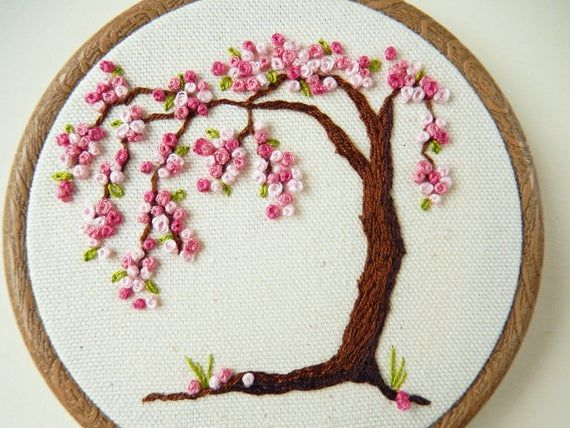 Cherry Blossom Tree Hand Embroidery Hoop Art Home And Wall Decor Nature Embroidery Gift Blossom Trees Cherry Blossom Tree Hand Embroidery