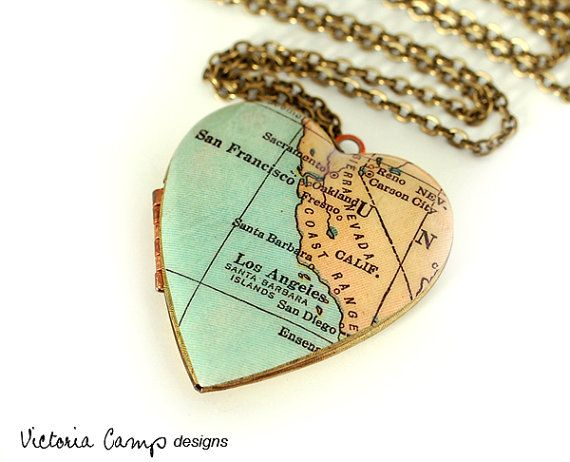 California Map Necklace, Large Vintage Heart Locket,  Antique Map Jewelry: SAN DIEGO!!!