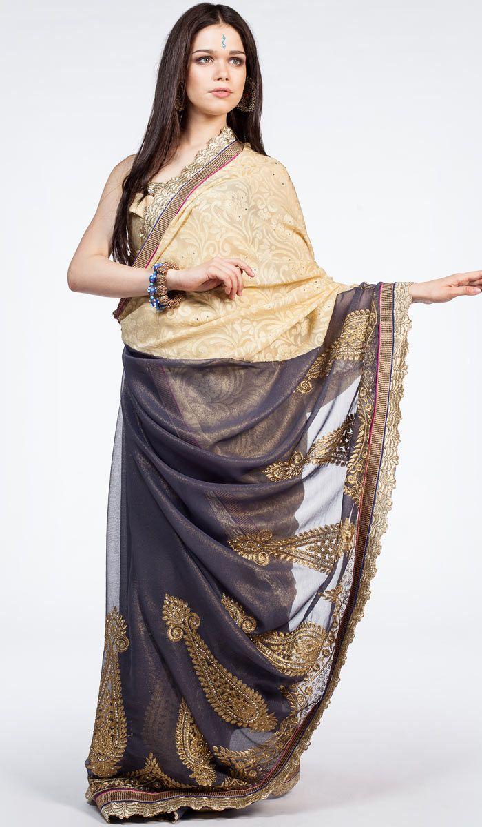 Индийское традиционное сари, сари с жаккардовым узором, синее сари из Индии, Indian sari, saree,  indigo sari from India. 15 700 рублей