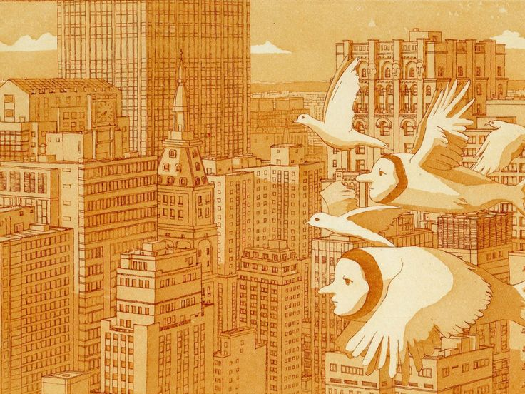 Morning Flight, Hand Printed Aquatint and Limited Edition Prints of original by #alanho found on ednasroom.com #artforchildren #childrensroomdecor #cityscape #childrensfantasy