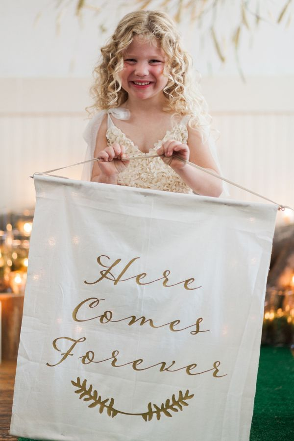 """Here Comes Forever"" fabric sign for flower girl  Check out how Apple Brides was a part of the @aislesociety experience presented by @minted! #aislesocietyexperience #seenonaislesociety"