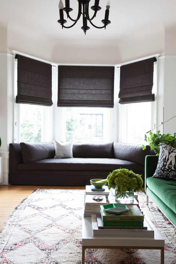 25 best ideas about modern window coverings on pinterest - Living room bay window treatments ...