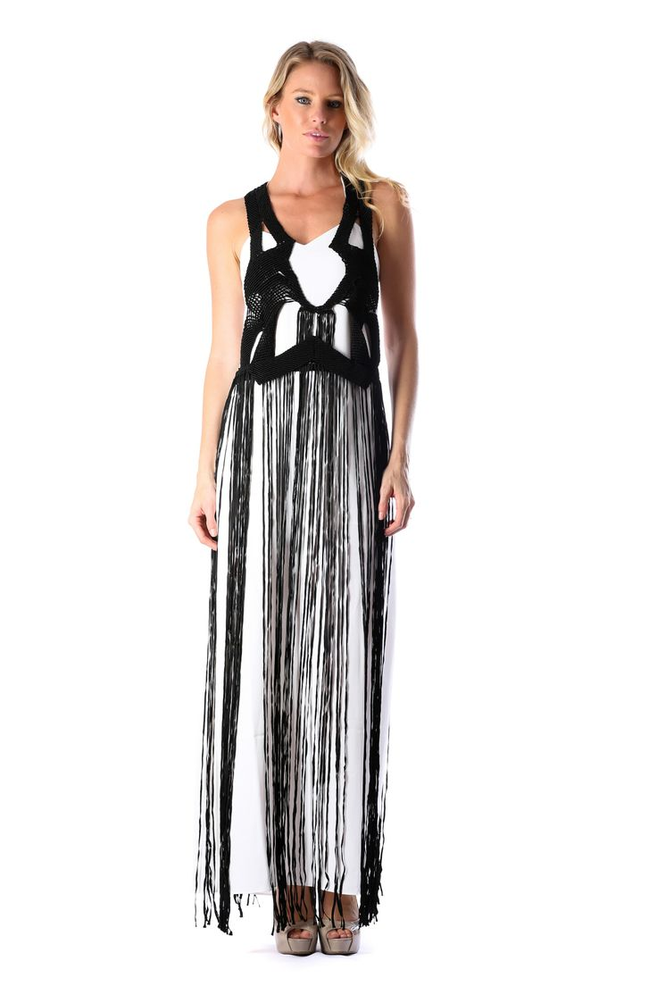 BLACK XARA FRINGE DRESS - WHITE http://runwaydream.com.au/black-xara-fringe-dress-white-414?options=cart Retail: $549.95 Hire:  $129