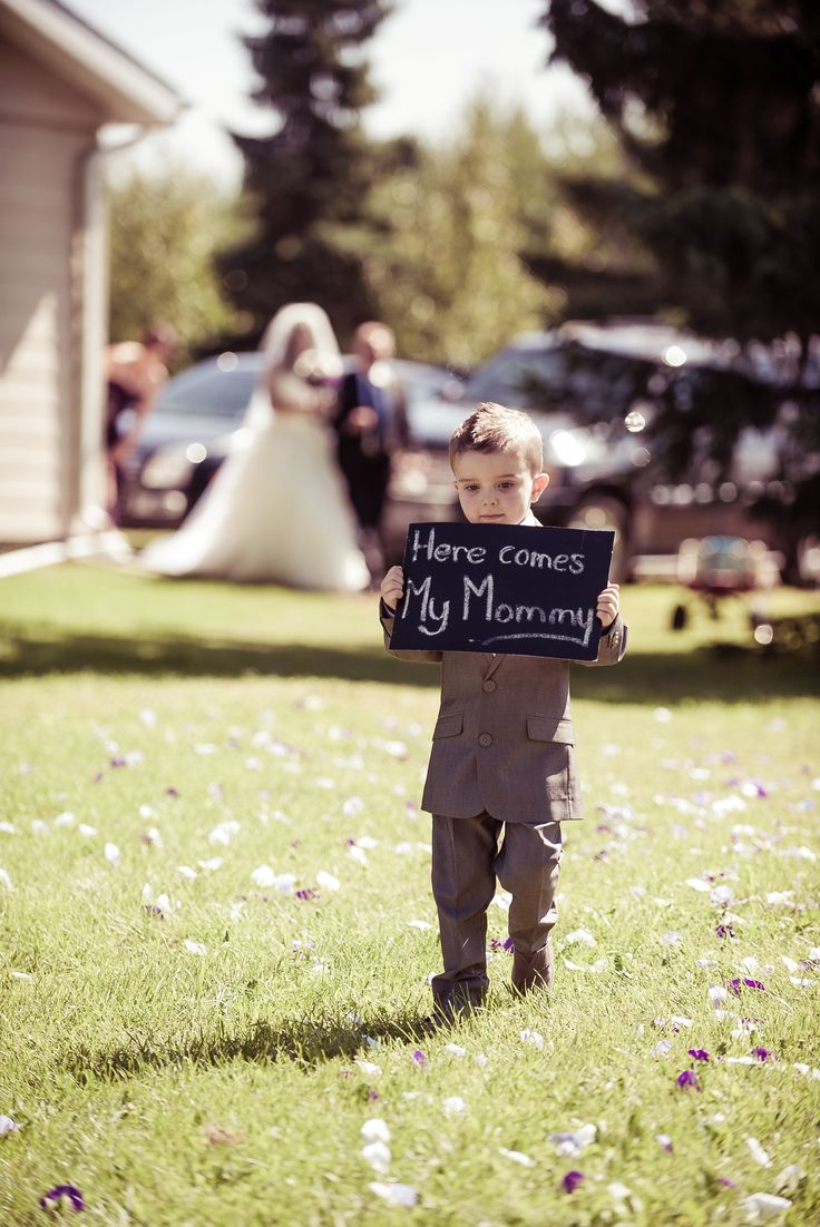 """Reword the sign to say """"Uncle Krusty here comes your girl""""   #wedding photos with son #ring bearer #cute wedding photos"""