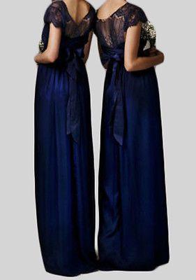 Azul Marino Scoop Encaje Chiffon Largo Boda Vestido De Fiesta Bridesmaids Vestido Formal