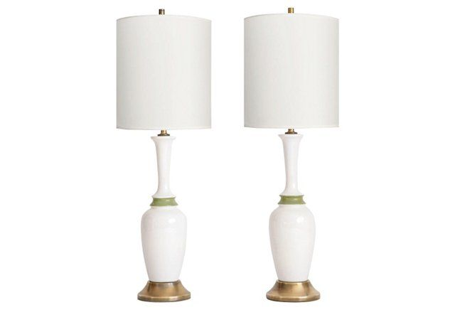 Tall Midcentury Table Lamps, Pair
