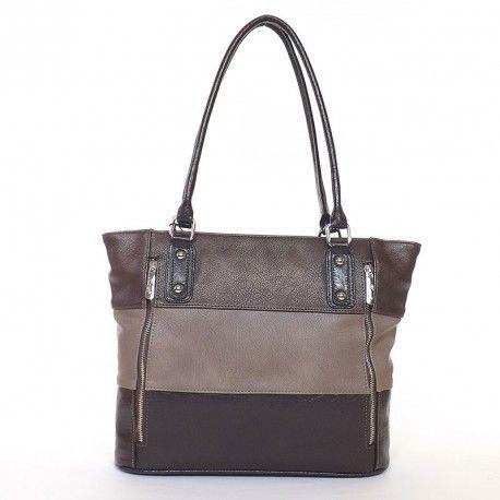 KAREN rostbőr női táska sötétbarna-drapp-bronz színű