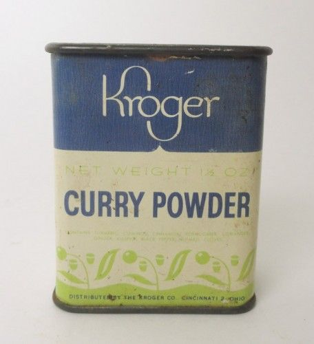 Vintage Kroger Curry Powder 1-1/2 oz. Metal Spice Tin. Full - Never Opened VATC725 ... For Sale