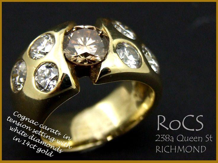 1 ct plus cognac diamond with 3 diamond punched set per side, RoCS unique design in 14ct