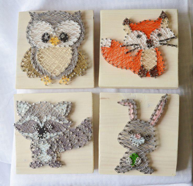 Woodland Creatures String art, Woodland Nursery Decor by PurplePalletDesigns on Etsy