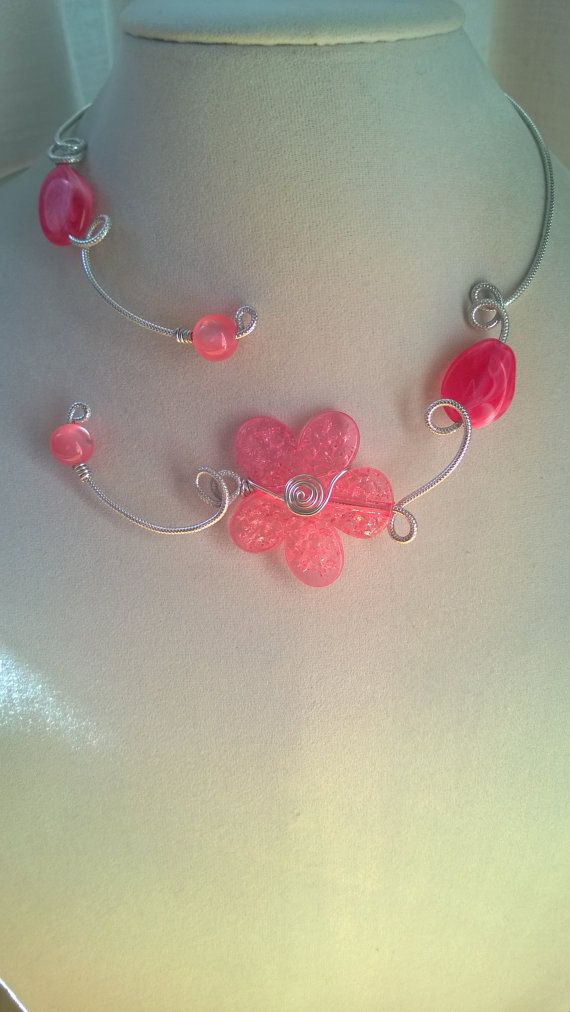 Alu wire necklace  Open collar necklace  par LesBijouxLibellule