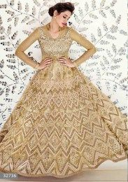 Cream Color Wedding Anarkali Suit With Heavy Embroidery Work On It