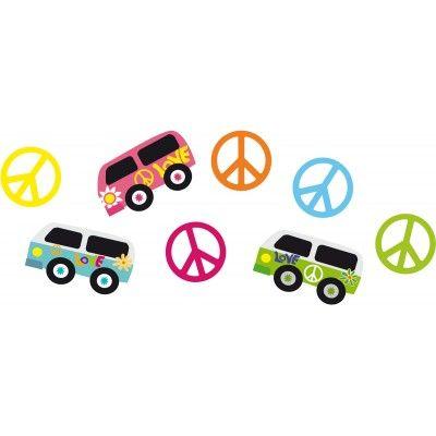 """Ces confettis de table aux deux designs hippie : Van et symbole """"Peace and love"""" viendront parfaire votre décoration de table.  Vous retrouverez les symboles """"PEACE AND LOVE"""" en cinq couleurs : jaune, orange, fuchsia, turquoise et vert. Les Vans eux sont de trois couleurs différentes : bleu, fuchsia et vert.  Prévoir plusieurs sachets de confettis selon la table."""