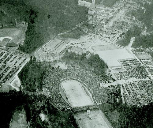 "Duke's stadium usually only held 35,000, which was much less than the Rose Bowl in Pasadena. North Carolina, North Carolina State, and Wake Forest loaned portable bleachers to help increase the capacity to 55,000. The game would draw the largest crowd since 52,880 packed the stadium for the Duke-UNC game in 1939. Tickets, priced at $4.40 apiece, sold out in three days. One reporter noted that ""hotel rooms are scarcer than candid camera shots of J.P. Morgan."""