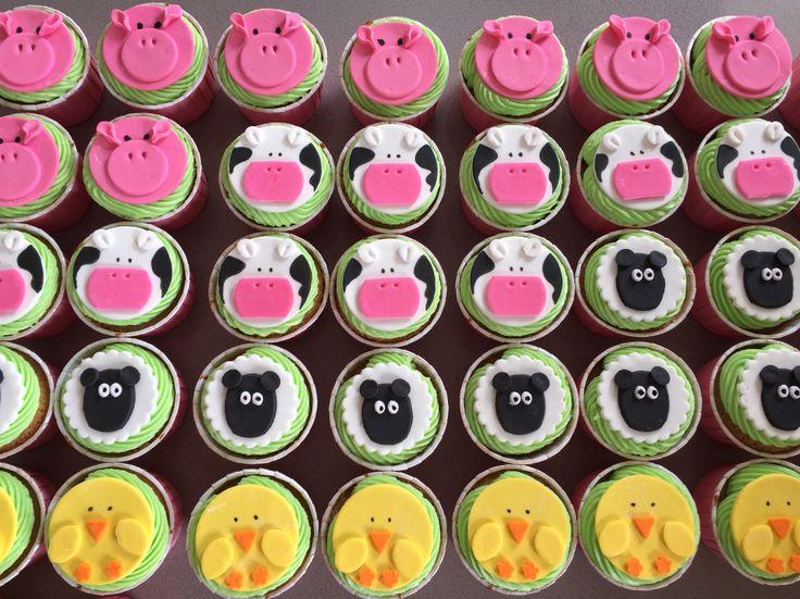 Farmyard Animals Cupcakes -caramel mud with buttercream. Happy Birthday Zahra! March 2015