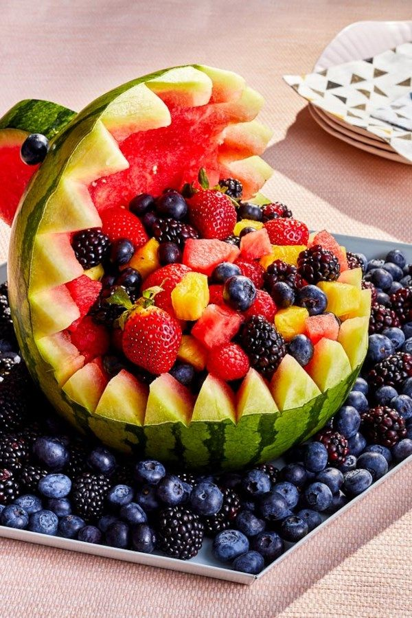 pin on healthy spring recipes shark watermelon fruit bowl