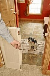The retractable dog gate can be used with one hand to close off an opening up to 183cm.