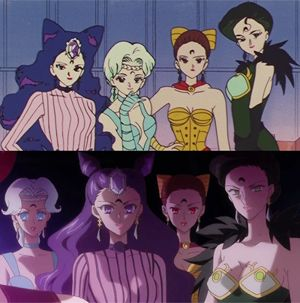 the 4 spectre/akayashi sisters from Sailor Moon season 2 - Sailor Moon R in original anime and Sailor Moon Crystal season 2 - Black Moon clan arc