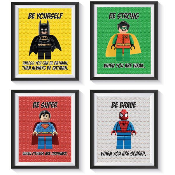 Lego Inspirational Superhero Art Print Set Qty 4 Nursery, Bedroom,... ($30) ❤ liked on Polyvore featuring home, children's room and children's decor
