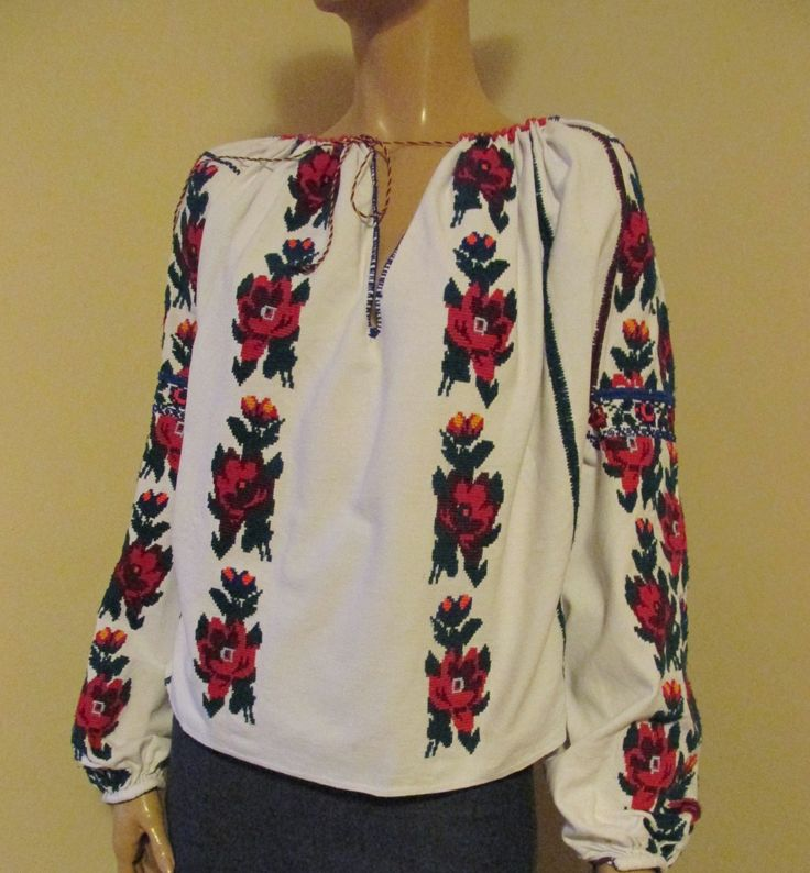 Splendid vintage Romanian traditional blouse from Moldova. Available at www.greatblouses.com