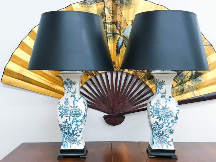Pair, Blue and White Asian Lamps