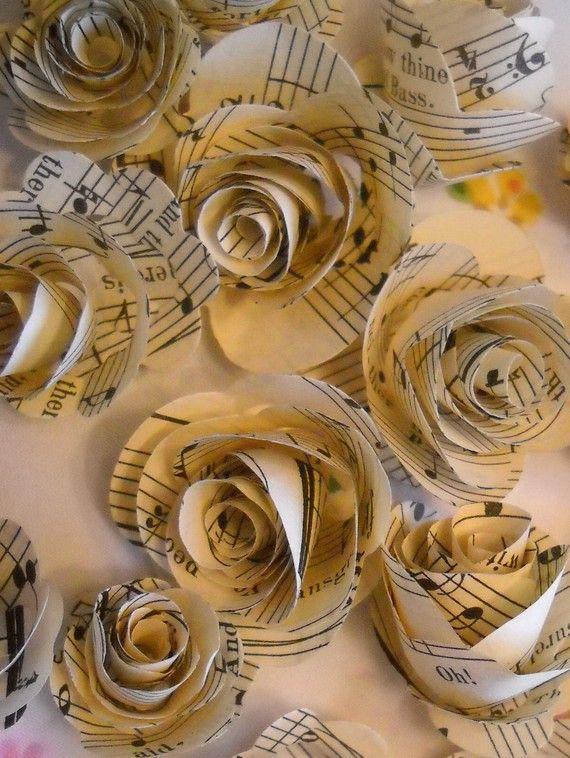 música vintage rosetas de papel-set de 20 por jardindepapier