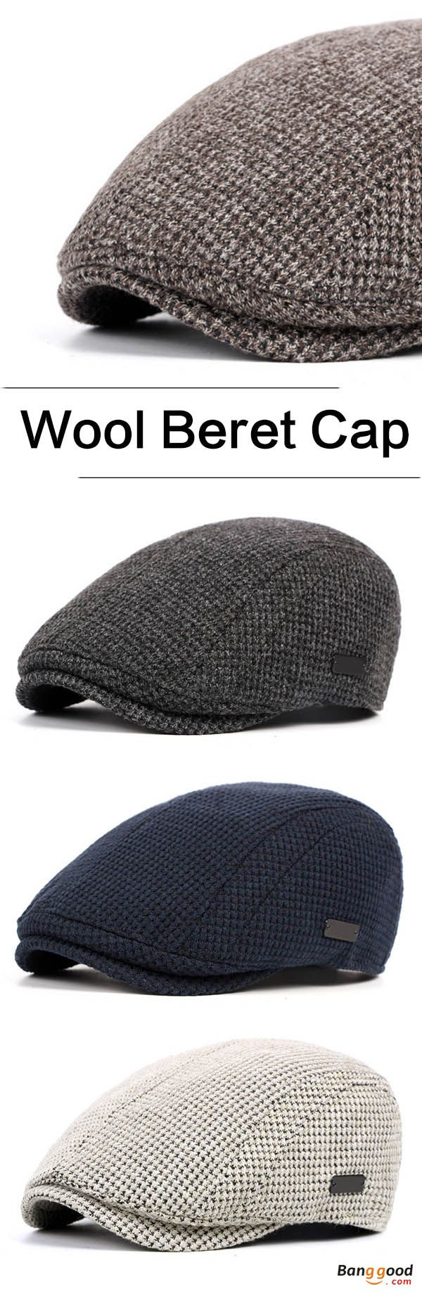 Men's Knitted Wool Gatsby Beret Cap Golf Driving Flat Cabbie Newsboy Hat. Warm hat for men,  knitted wool, perfect for winter. 5 colors to choose. Buy now!