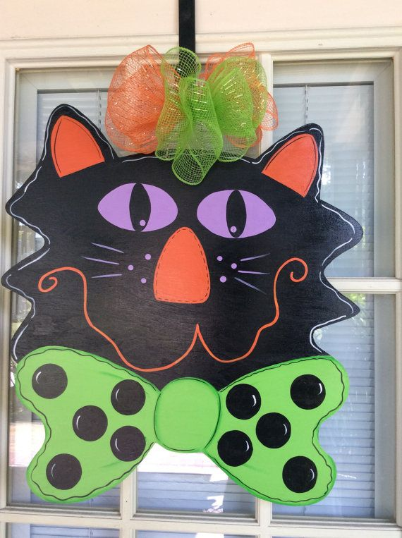 Hey, I found this really awesome Etsy listing at https://www.etsy.com/listing/242162483/whimsical-halloween-cat-door-hanger-in