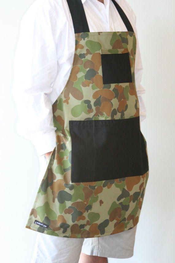 Mens Apron Camouflage Apron Boys Apron BBQ by ConfettiMeMelbourne