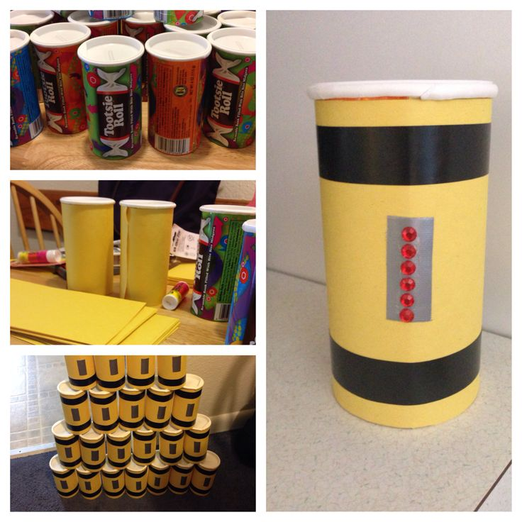 Scream canisters for centerpieces for Monsters Inc. birthday party
