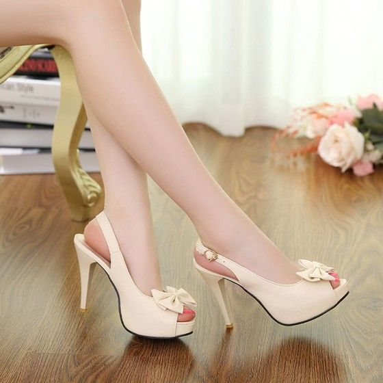 Beige Piscine Mouth Stiletto Bow Casual High-Heeled Shoes