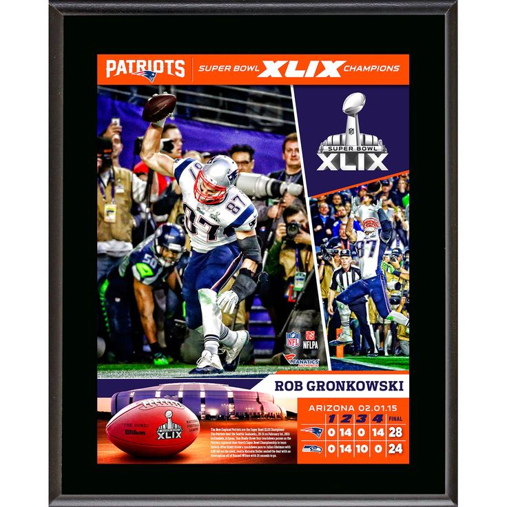 "Rob Gronkowski New England Patriots Fanatics Authentic 10.5"" x 13"" Super Bowl XLIX Champions Sublimated Plaque - $23.99"