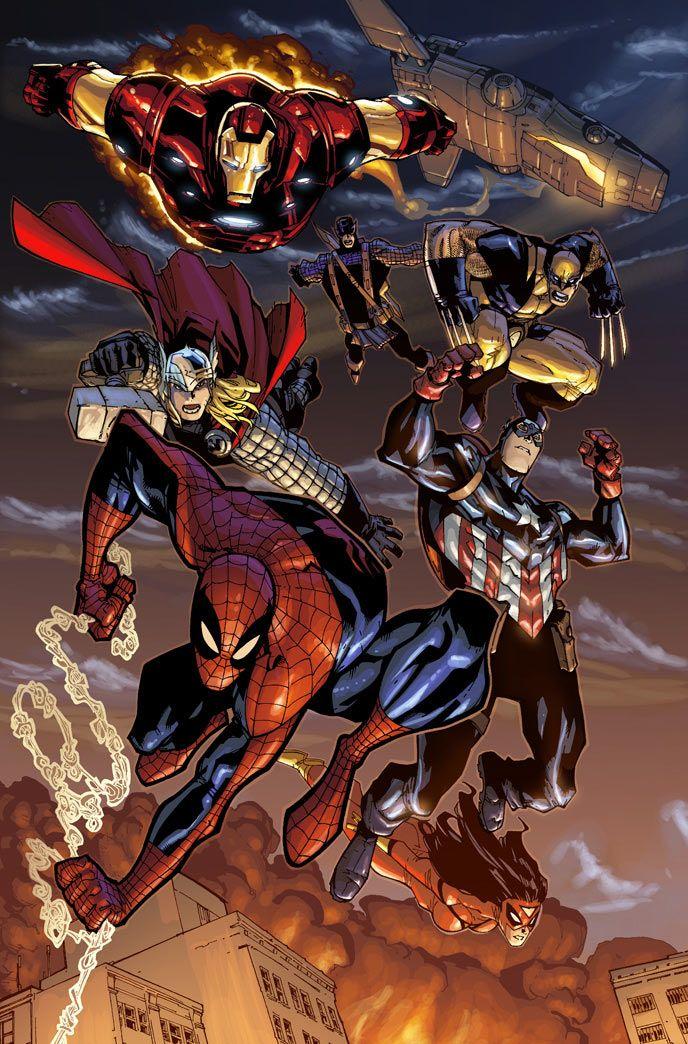 Spider-Man, Iron Man, Captain America, Thor, Wolverine, & Hawkeye by Humberto Ramos