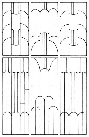 This chart is a bit of a help to see how the patterns used in Art Deco are formed with out the distraction of colour.