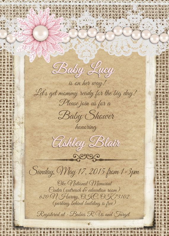 Burlap and lace pink pearl Vintage Baby by MissBlissInvitations