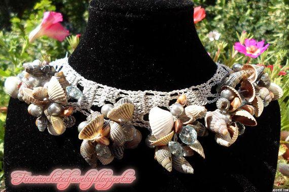 Unique Crochet Seashell Necklace with by FineCrochetedJewelry, $30.00