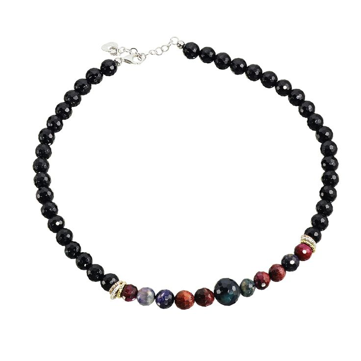 Oxette Necklace - Couture Collection - Available here http://www.oxette.gr/kosmimata/kolie/ster.silver-rose-gold-pl-necklace-8mm-onyx-agate-534l-1/     #oxette #OXETTEnecklace #jewellery